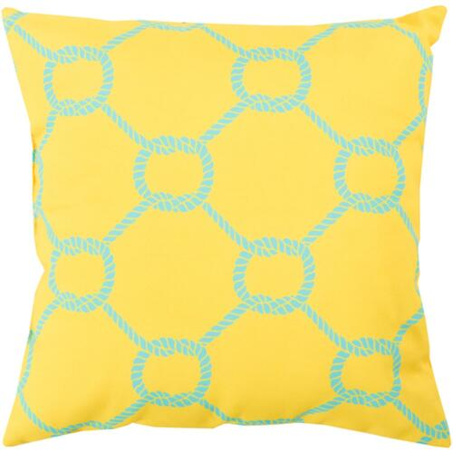 """18"""" Lemon Yellow and Blue Roped Contemporary Square Throw Pillow Cover - IMAGE 1"""