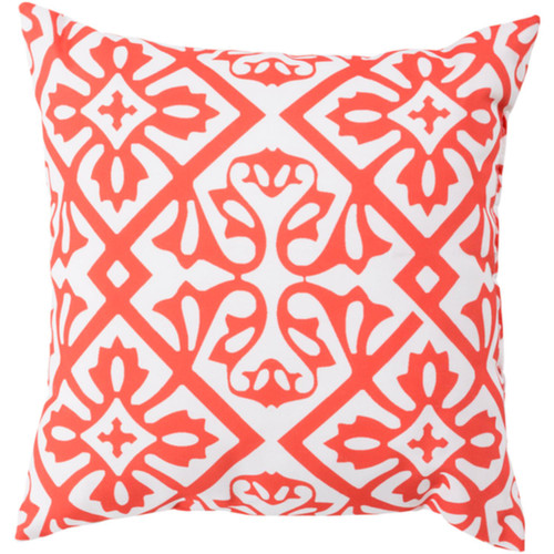"""20"""" Coral Orange and White Contemporary Square Outdoor Throw Pillow Cover - IMAGE 1"""