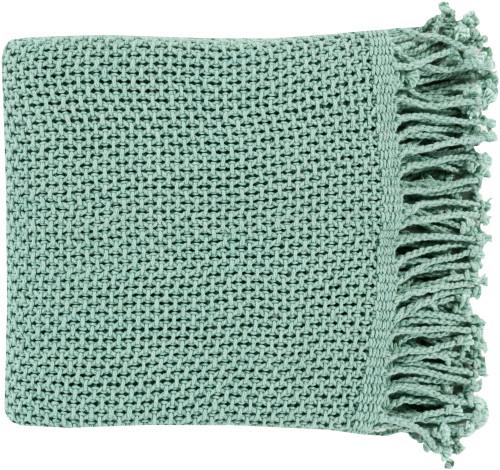 """Aqua Blue Rectangular Fringed Throw Blanket 50"""" x 70"""" - IMAGE 1"""