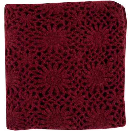 """Burgundy Red Floral Hand Knitted Throw Blanket 50"""" x 60"""" - IMAGE 1"""