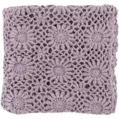 """Mauve Purple Floral Hand Knitted Throw Blanket 50"""" x 60"""" - IMAGE 1"""