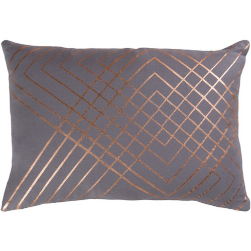 "19"" Moon Gray and Copper Brown Contemporary Throw Pillow - Down Filler - IMAGE 1"