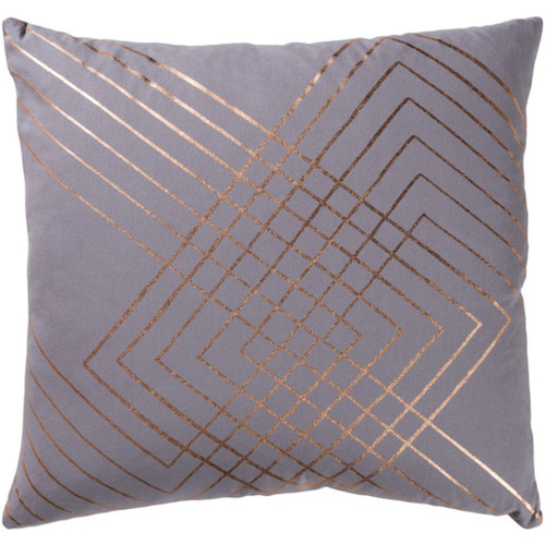 "20"" Gray and Copper Brown Contemporary Square Throw Pillow - Down Filler - IMAGE 1"