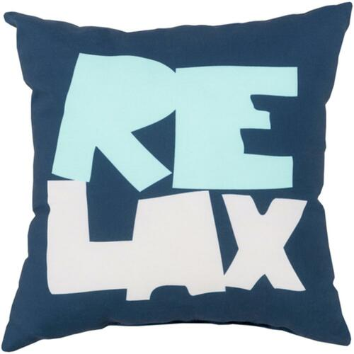 "20"" Blue and Pink Digitally Printed ""Relax"" Square Throw Pillow Shell - IMAGE 1"