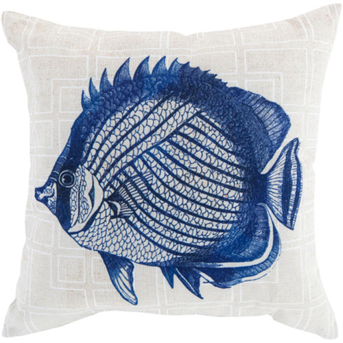 """18"""" Royal Blue and White Fish Woven Contemporary Square Throw Pillow Shell - IMAGE 1"""