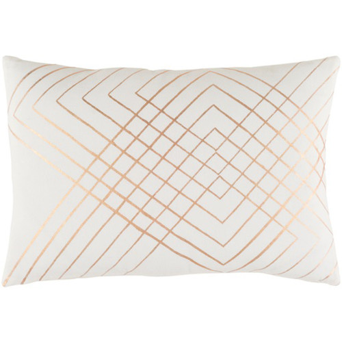 "19"" Blush Pink and Rust Brown Contemporary Throw Pillow - IMAGE 1"