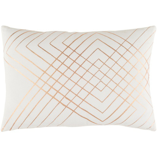"""19"""" Blush Pink and Rust Brown Contemporary Throw Pillow - Down Filled - IMAGE 1"""