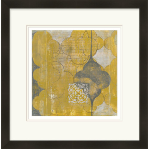 "28"" x 29"" Mustard Yellow and Cloud Gray Rustic Moroccan Wall Art Decor - IMAGE 1"