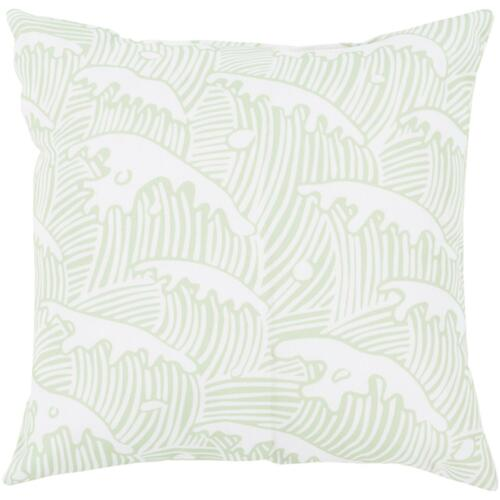 """20"""" Mint Green and White Ocean Waves Digitally Printed Square Throw Pillow Shell - IMAGE 1"""