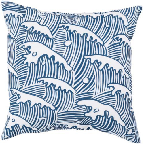 """20"""" Blue and White Ocean Waves Digitally Printed Square Throw Pillow Shell - IMAGE 1"""