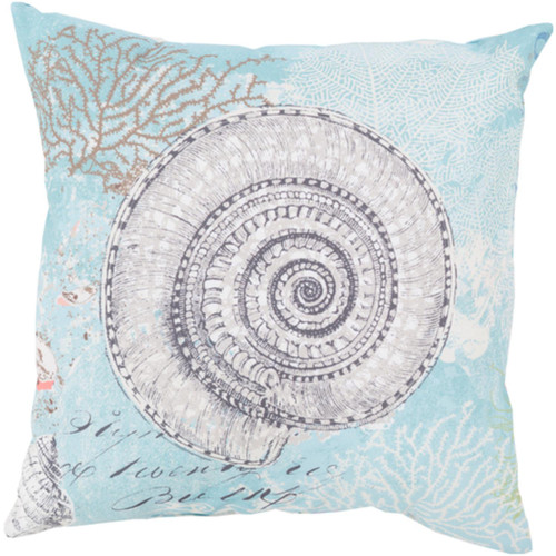 """18"""" Blue and White Turbo Snail Digitally Printed Square Throw Pillow Shell - IMAGE 1"""