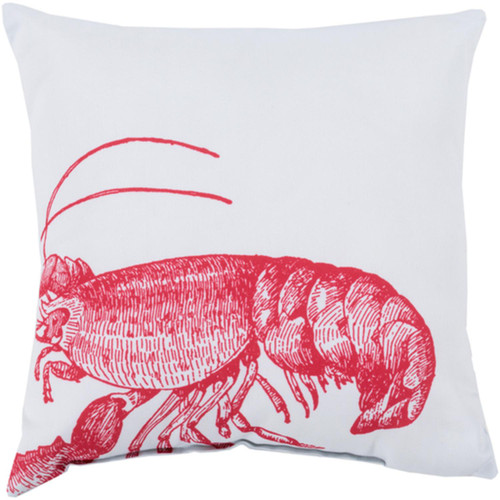 "20"" Red and White Lobsters Digitally Printed Square Throw Pillow Shell - IMAGE 1"
