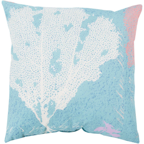 "18"" Blue and Pink Coral Reef Digitally Printed Square Throw Pillow Shell - IMAGE 1"