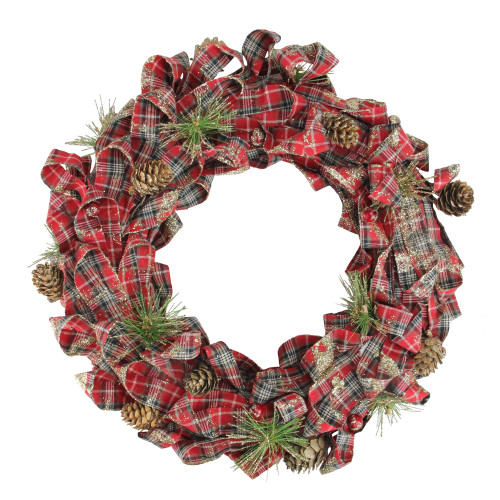 Red Plaid Bows and Pine Cones Artificial Christmas Wreath - 14.25-Inch, Unlit - IMAGE 1