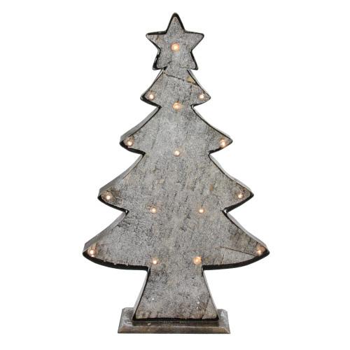 "26.5"" Rustic Brown and Gray LED Lighted Christmas Tree Tabletop Decor - IMAGE 1"