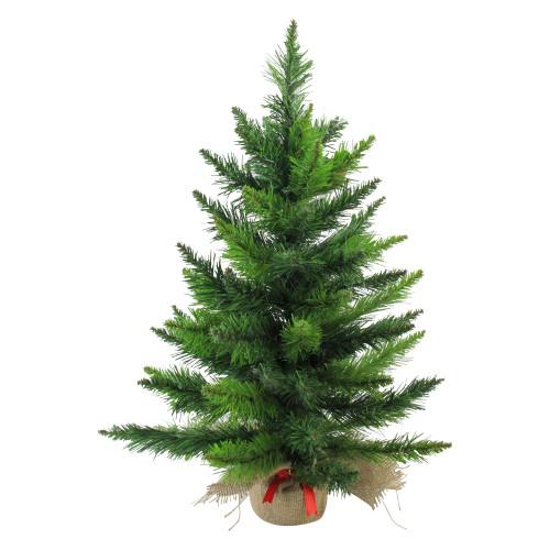 "24"" Mini Balsam Pine Medium Artificial Christmas Tree in Burlap Base - Unlit - IMAGE 1"