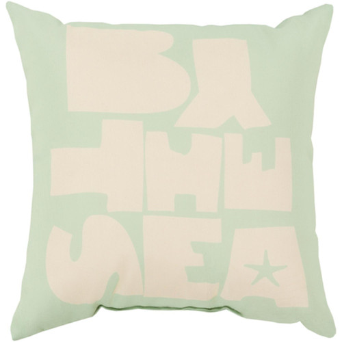 "18"" Cloud Gray and Seafoam Green ""By The Sea"" Square Outdoor Throw Pillow - IMAGE 1"