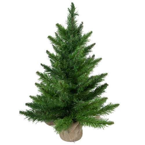 "24"" Mini Balsam Medium Pine Artificial Christmas Tree in Burlap Base - Unlit - IMAGE 1"