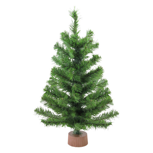 "24"" Mini Pine Medium Artificial Christmas Tree in Faux Wood Base - Unlit - IMAGE 1"