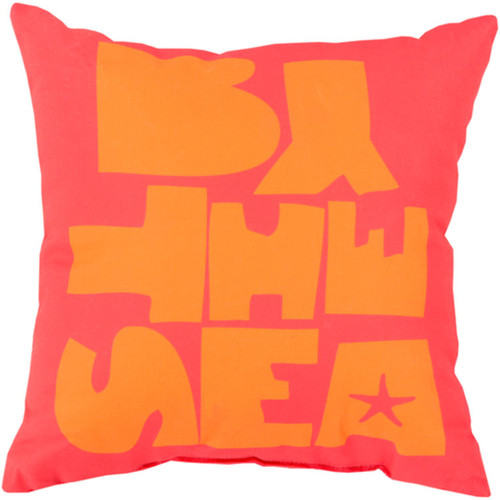 """18"""" Pink and Orange """"By The Sea"""" Square Outdoor Throw Pillow - IMAGE 1"""