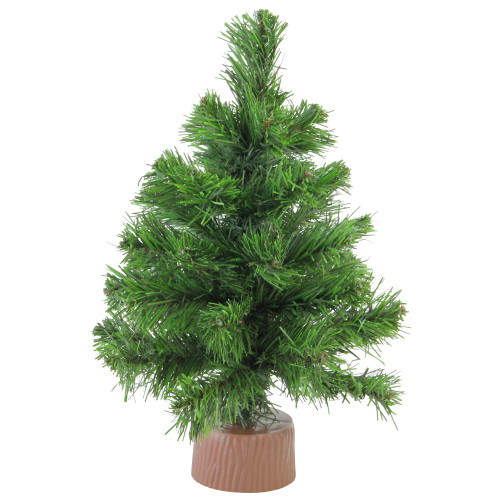 """12"""" Mini Pine Full Artificial Christmas Tree in Faux Wood Base - Unlit - IMAGE 1"""