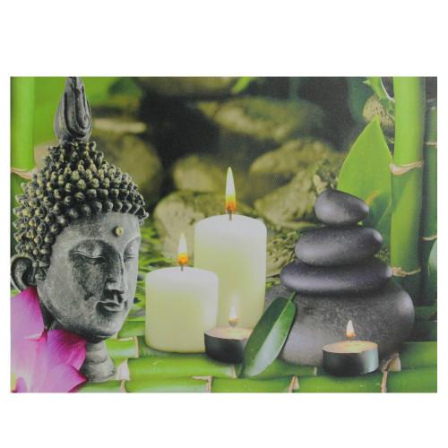 "LED Lighted Buddha and Bamboo Canvas Wall Art 12"" x 15.75"" - IMAGE 1"