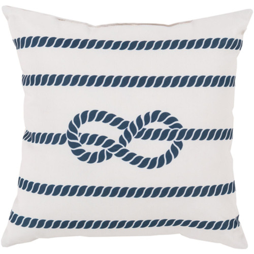 "18"" White and Cobalt Blue Contemporary Square Outdoor Throw Pillow - IMAGE 1"