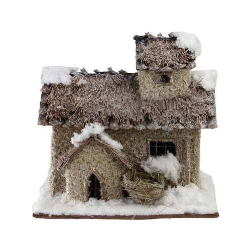 "9.25"" Brown and Beige Two Story Snowy Cabin Christmas Tabletop Decor - IMAGE 1"