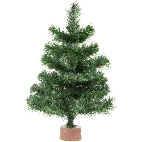 "18"" Mini Pine Medium Artificial Christmas Tree in Faux Wood Base - Unlit - IMAGE 1"