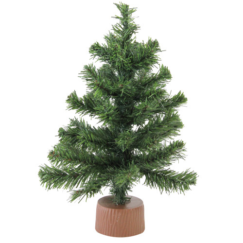 """12"""" Mini Canadian Pine Full Artificial Christmas Tree in Faux Wood Base - Unlit - IMAGE 1"""