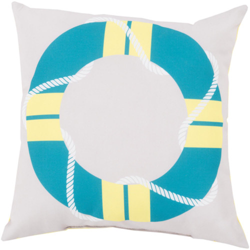"""18"""" Teal Blue and White Contemporary Square Outdoor Throw Pillow - IMAGE 1"""