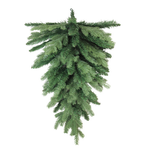 "30"" Coniferous Mixed Pine Artificial Christmas Teardrop Swag - Unlit - IMAGE 1"