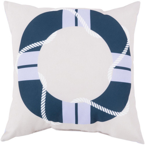 "20"" White and Navy Blue Digitally Printed Square Throw Pillow Shell - IMAGE 1"