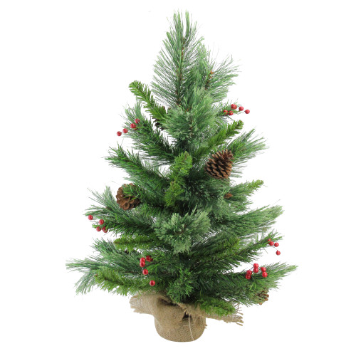 "24"" Mixed Cashmere Berry Pine Medium Artificial Christmas Tree - Unlit - IMAGE 1"