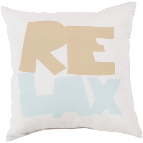 """20"""" Ivory and Brown Digitally Printed """"Relax"""" Square Throw Pillow Shell - IMAGE 1"""