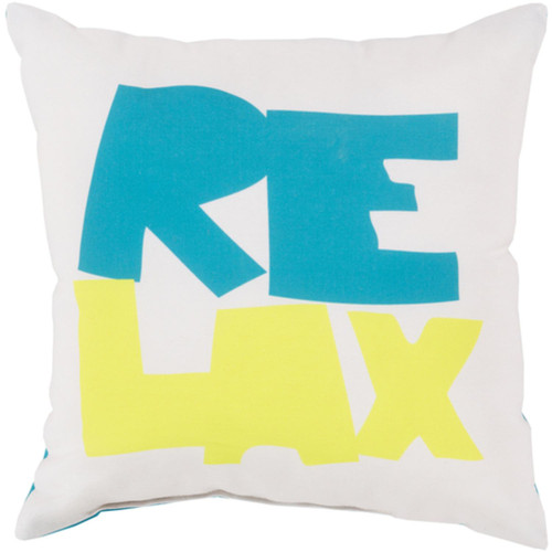 """18"""" White and Green Digitally Printed """"Relax"""" Square Throw Pillow Shell - IMAGE 1"""