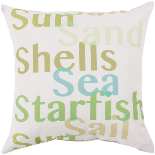 """18"""" White and Green Digitally Printed Square Throw Pillow Shell - IMAGE 1"""