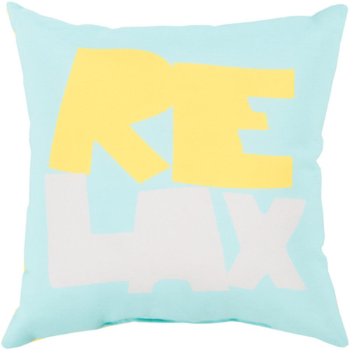 """18"""" Blue and Yellow Digitally Printed """"Relax"""" Square Throw Pillow Shell - IMAGE 1"""