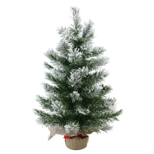 "22"" Flocked Pine Full Artificial Christmas Tree in Burlap Base - Unlit - IMAGE 1"