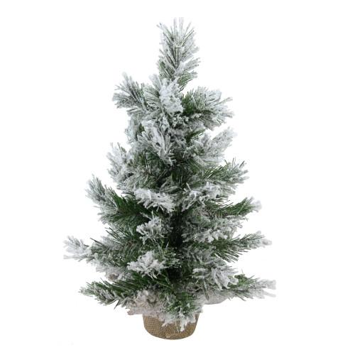 "18"" Flocked Pine Medium Artificial Christmas Tree in Burlap Base - Unlit - IMAGE 1"