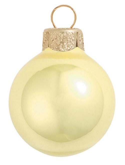 "12ct Pearl Soft Yellow Glass Ball Christmas Ornaments 2.75"" (70mm) - IMAGE 1"