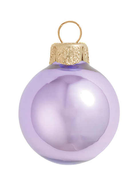"""28ct Purple and Gold Pearl Glass Christmas Ball Ornaments 2"""" (50mm) - IMAGE 1"""