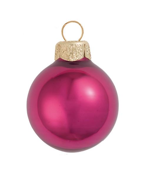 "8ct Magenta Pink Glass Pearl Christmas Ball Ornaments 3.25"" (80mm) - IMAGE 1"