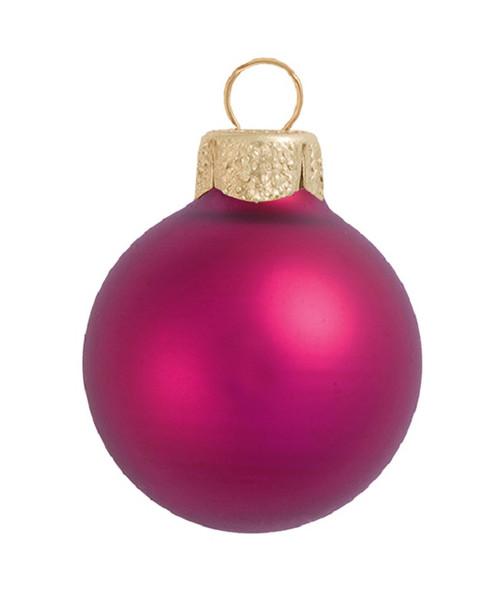 "12ct Raspberry Pink Matte Glass Christmas Ball Ornaments 2.75"" (70mm) - IMAGE 1"