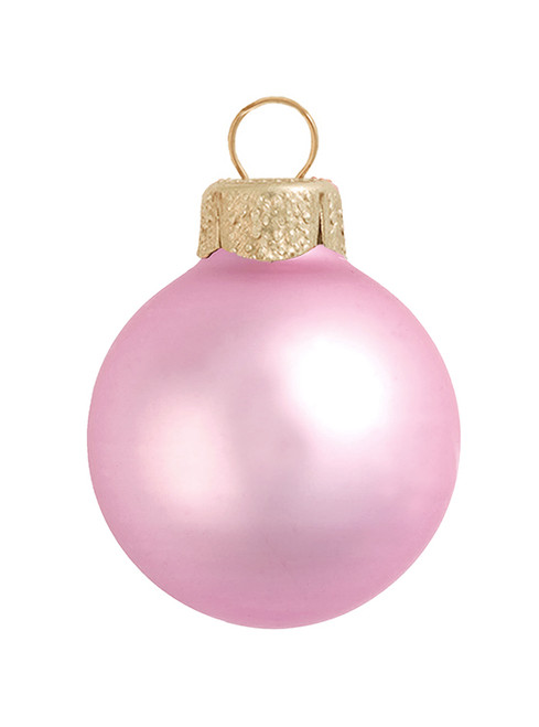 "8ct Pale Pink Matte Glass Christmas Ball Ornaments 3.25"" (80mm) - IMAGE 1"
