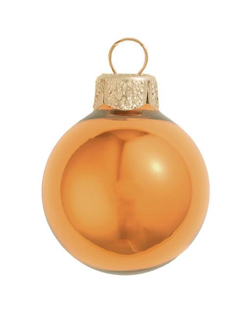 "12ct Burnt Orange Pearl Glass Christmas Ball Ornaments 2.75"" (70mm) - IMAGE 1"