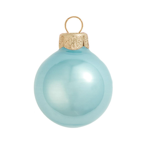 """8ct Baby Blue Pearl Glass Christmas Ball Ornaments 3.25"""" (80mm) - IMAGE 1"""