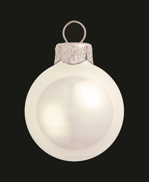 "40ct Polar White Pearl Glass Christmas Ball Ornaments 1.25"" (30mm) - IMAGE 1"