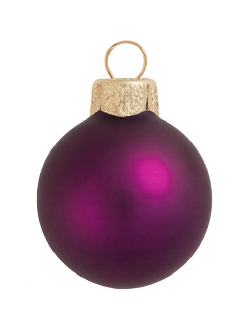 "8ct Plum Purple Contemporary Matte Glass Christmas Ball Ornaments 3.25"" (80mm) - IMAGE 1"