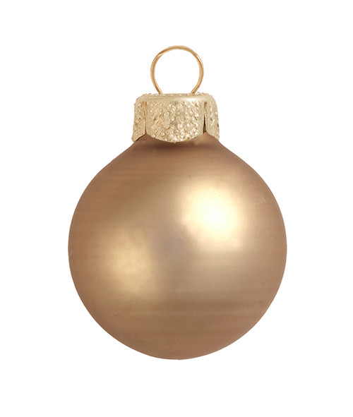 """28ct Brown and Gold Matte Glass Christmas Ball Ornaments 2"""" (50mm) - IMAGE 1"""